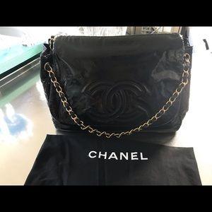 Authentic Chanel Black Patent Leather Shoulder Bag